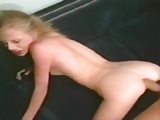 Skinny slut ass fucked on blue couch