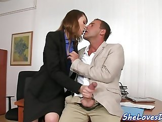 European babe double penetrated after a bj