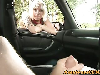CFNM british babe wanking cock POV in the car