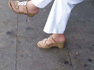 granny nylon feet in cork shoes