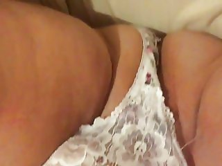 Playing with panties in chubby pussy