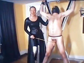 Mistress canes cock