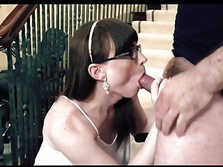 Beautiful shemale in glasses gets her pantyhose ripped