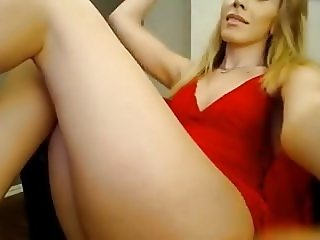 Perfect blond tranny TS big cock small tits