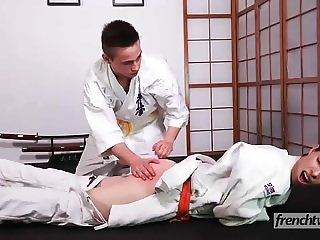 Two young judokas fucking on the tatami