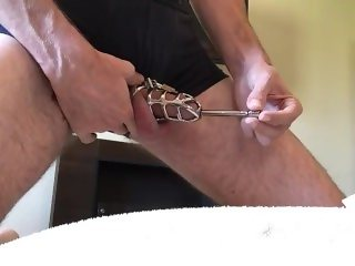 Huge Urethral Sound CBT Steel Cock Cage Male Masturbation Orgasm