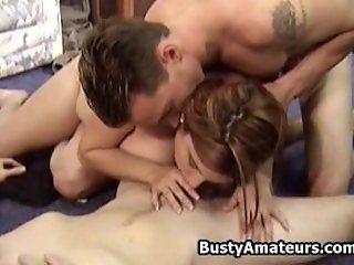 Busty Helena on hot threesome fucking