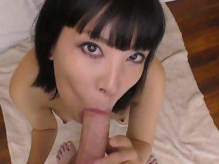 Japanese slut swallowing my cum