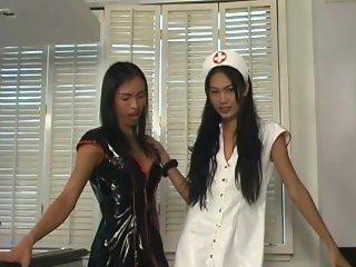 Asian TGirl Latex Nurses 2 - Scene 3