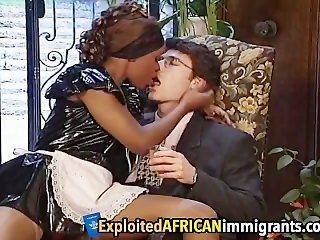 African Babe Enjoys Riding Big White Schlong
