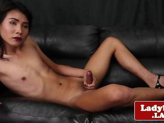 Beautiful solo ladyboy pulling hard cock