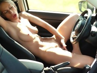 Masturbation after a long trip on a car