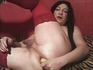 Amateur Shemale Webcam Insertion Banana Phone Dildo Ass Hole