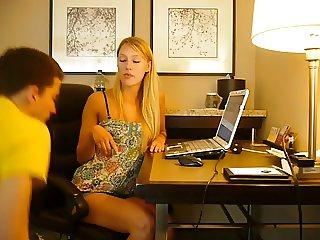 Blonde Mistress abusing a nerd slave