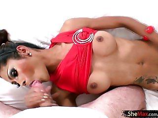 Cute Thai TS is sucking and handjobing the ladyboy player