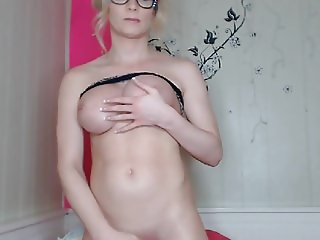 Busty Blonde Tranny Solo Room Action
