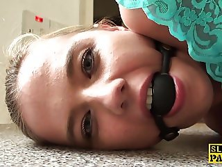 Gagged english sub spanked and throatfucked