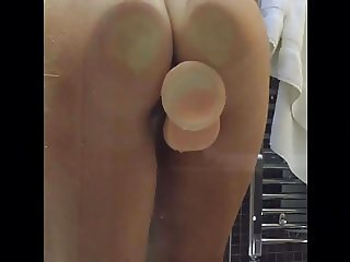 Wife shower with rubber dick