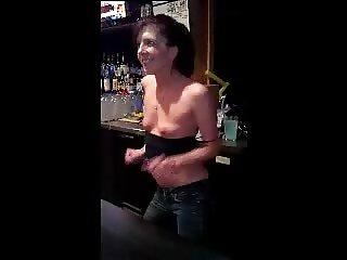 Bar girl tit show
