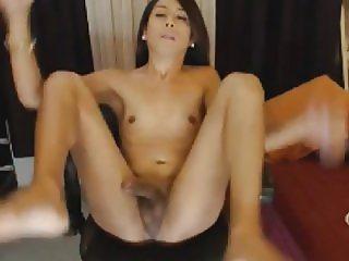 Horny Tranny Jerking Her Hard Cock