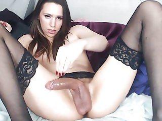 sexy tgirl babe big cock cumshot