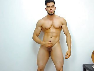 Colombian Muscle Boy Cums On Cam, Big Load