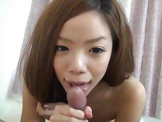 Cute licking blowjob
