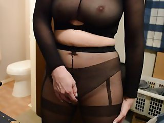 Encased in Nylon Pantyhose Masturbation Part 2