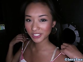 Asian gloryhole cutie sucking cock