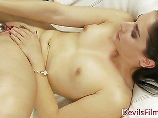 Masturbating babe dildo fucks tight pussy