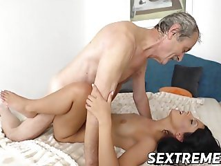 Grandpa is hungry to taste hot Vivien Bells wet juicy cunt