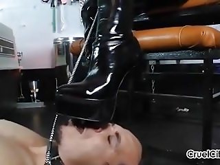 Canine Slave Worships Isobel's Shiny Leather Boots!