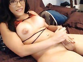 Cute asian t-girl handjob