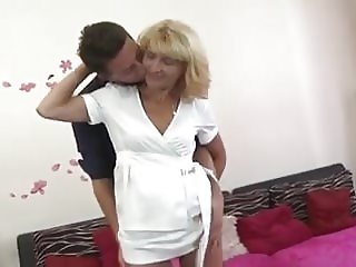 mature blonde sucks and fucks young cock