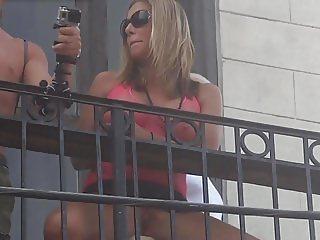 Balcony Pussy Parade Horny Slut