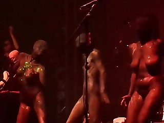 sexy gogo girls nude on stage german rock concert