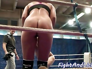 Glam lesbians wrestling and licking pussies