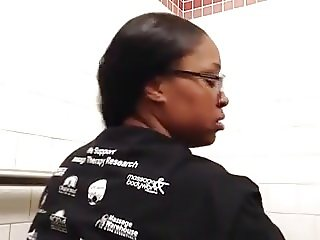 Black Mama on Toilet