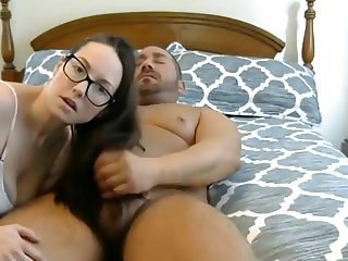 Sexy Brunette Hairjob and Cum in Hair, Long Hair, Pigtails